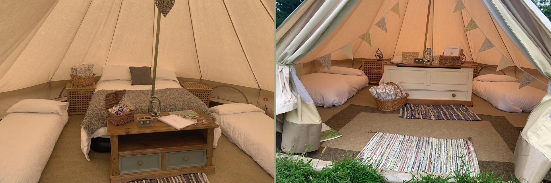 Inside our Glamping Bell Tents near Tenby, Pembrokeshire