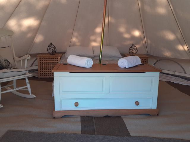 Glamping bell tent in the meadow